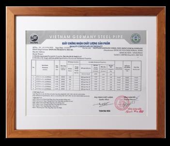 Chứng nhận nhà phân phối ống thép Việt - Đức VG PIPE