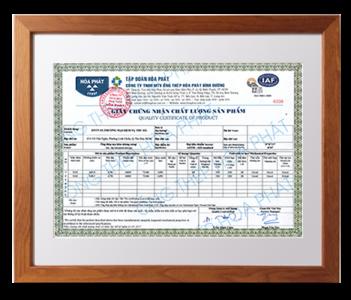 Chứng nhận chất lượng sản phẩm - CTY CP Nhựa Bình Minh
