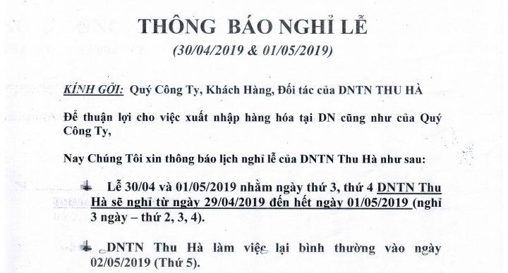 THÔNG BÁO NGHỈ LỄ 30-04 VÀ QUỐC TẾ LAO ĐỘNG 02-05